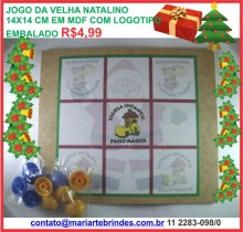 Jogo da velha com decoração natalina e logomarca