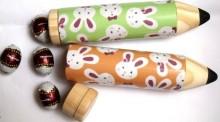 Estojo decoração Páscoa com ovinhos (para 12 lápis cor curto)